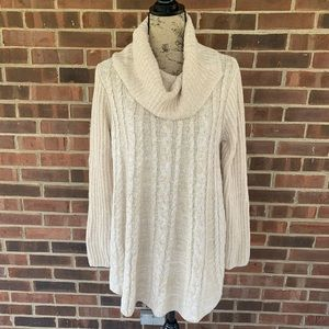 NWT Hannah cowl neck tunic cable knit sweater
